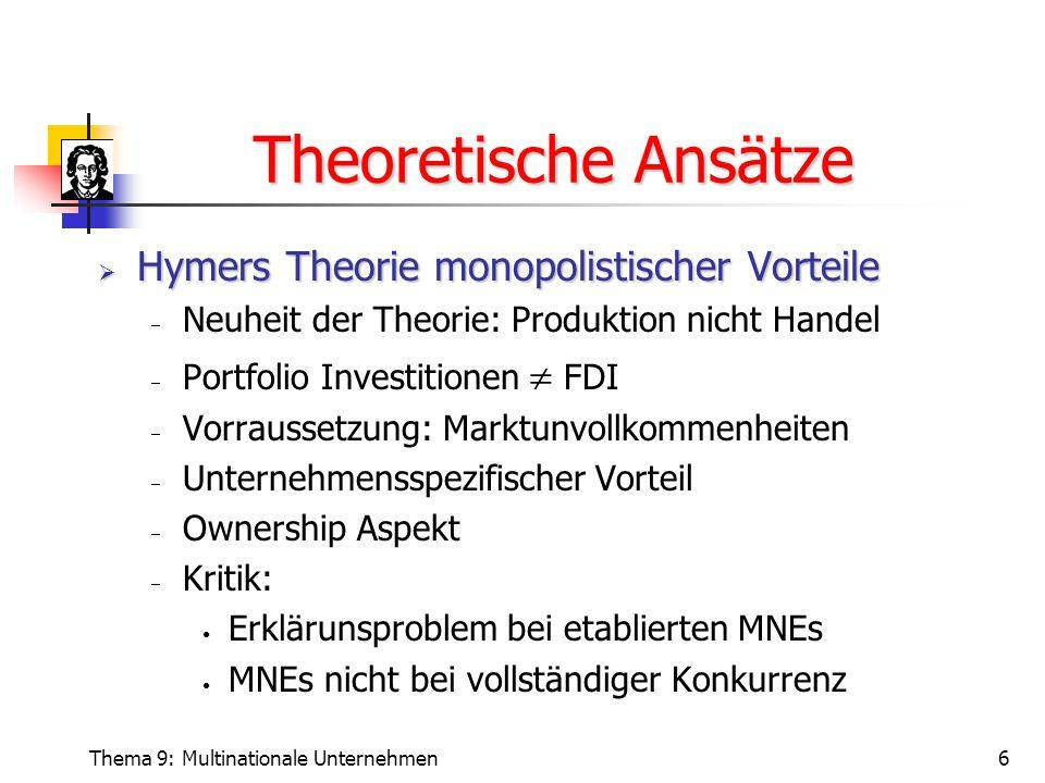 Theoretische Ansätze Hymers Theorie monopolistischer Vorteile