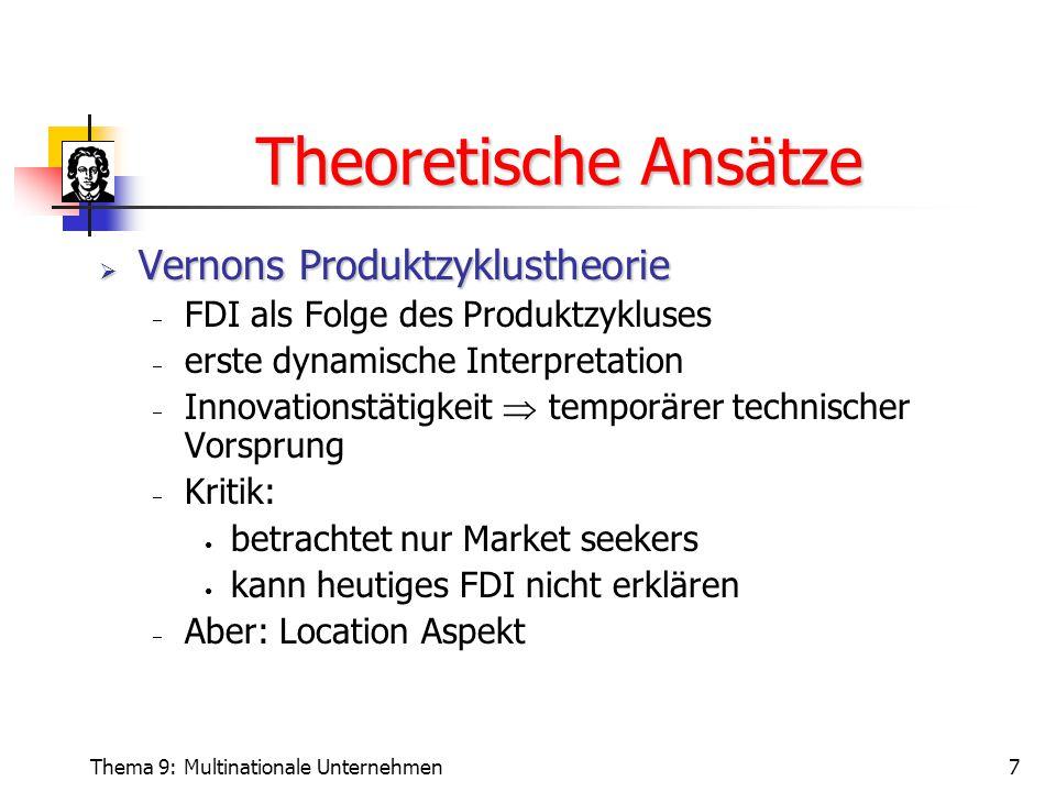 Theoretische Ansätze Vernons Produktzyklustheorie