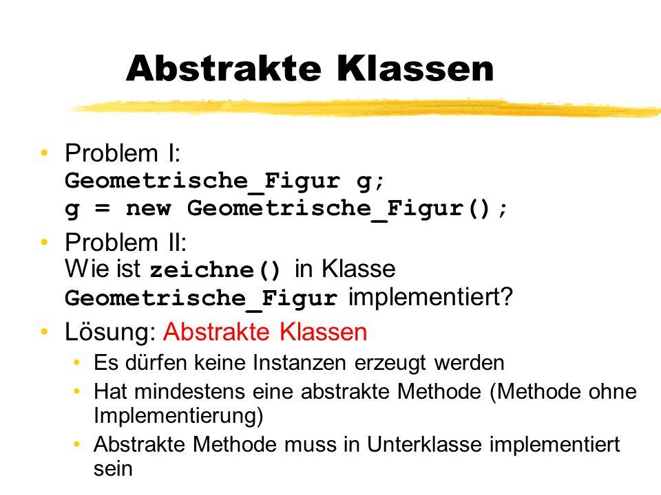 Abstrakte Klassen Problem I: Geometrische_Figur g; g = new Geometrische_Figur();
