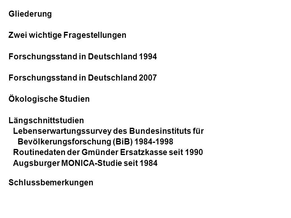 Gliederung Zwei wichtige Fragestellungen. Forschungsstand in Deutschland 1994. Forschungsstand in Deutschland 2007.