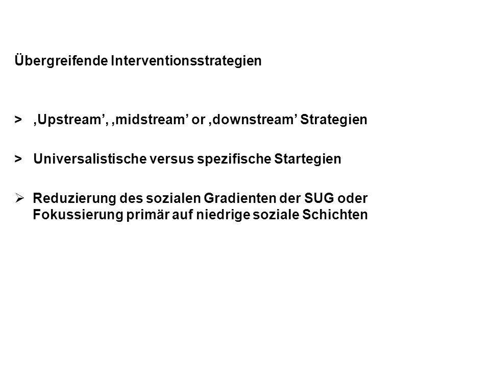 Übergreifende Interventionsstrategien