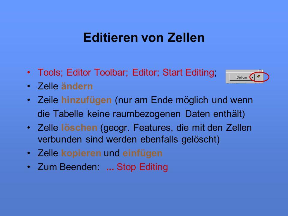 Editieren von Zellen Tools; Editor Toolbar; Editor; Start Editing;