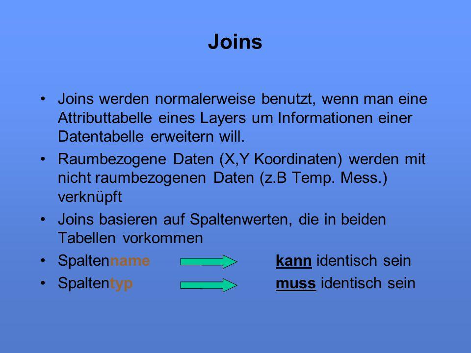Joins Joins werden normalerweise benutzt, wenn man eine Attributtabelle eines Layers um Informationen einer Datentabelle erweitern will.