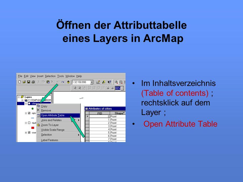 Öffnen der Attributtabelle eines Layers in ArcMap
