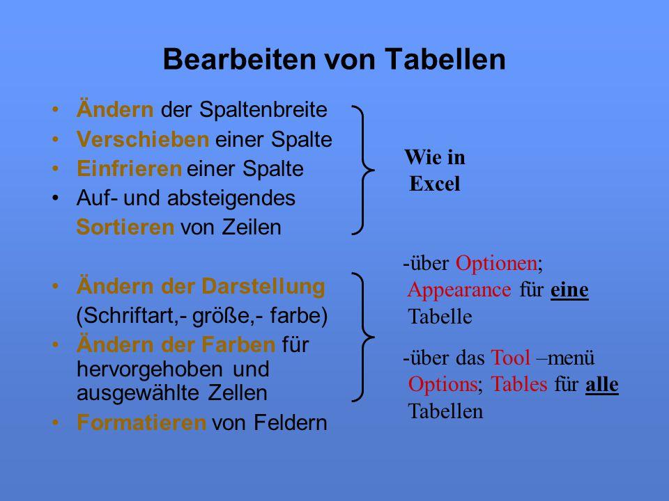 Bearbeiten von Tabellen