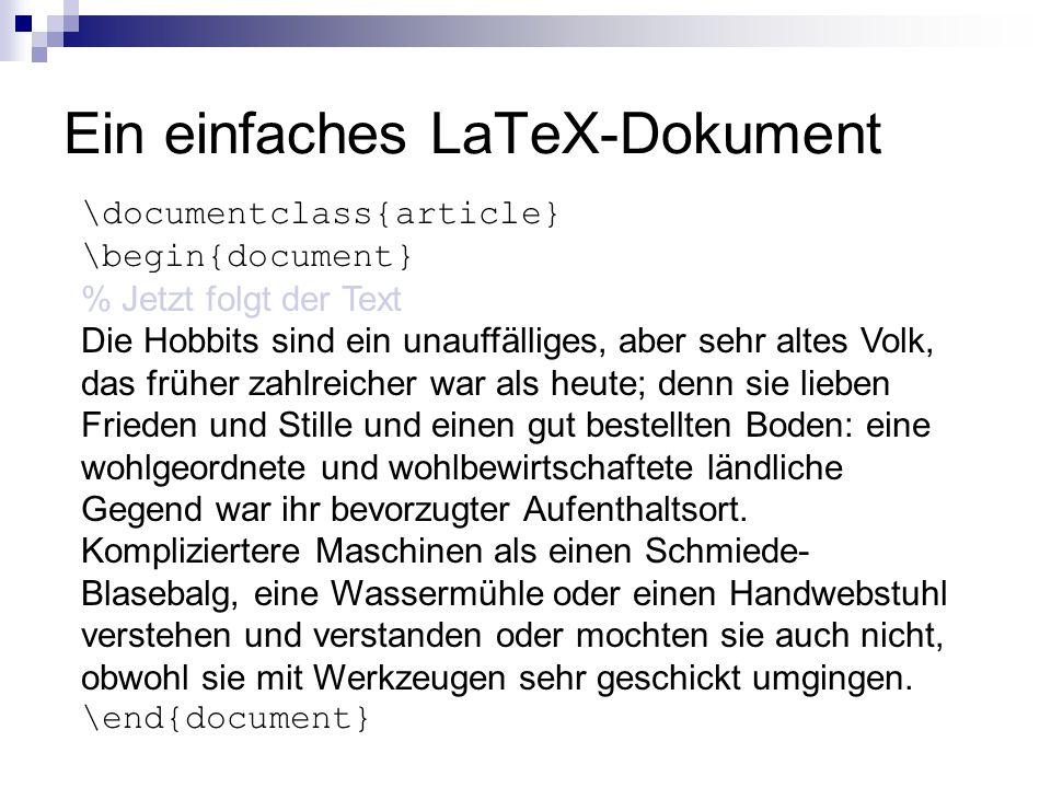 Ein einfaches LaTeX-Dokument