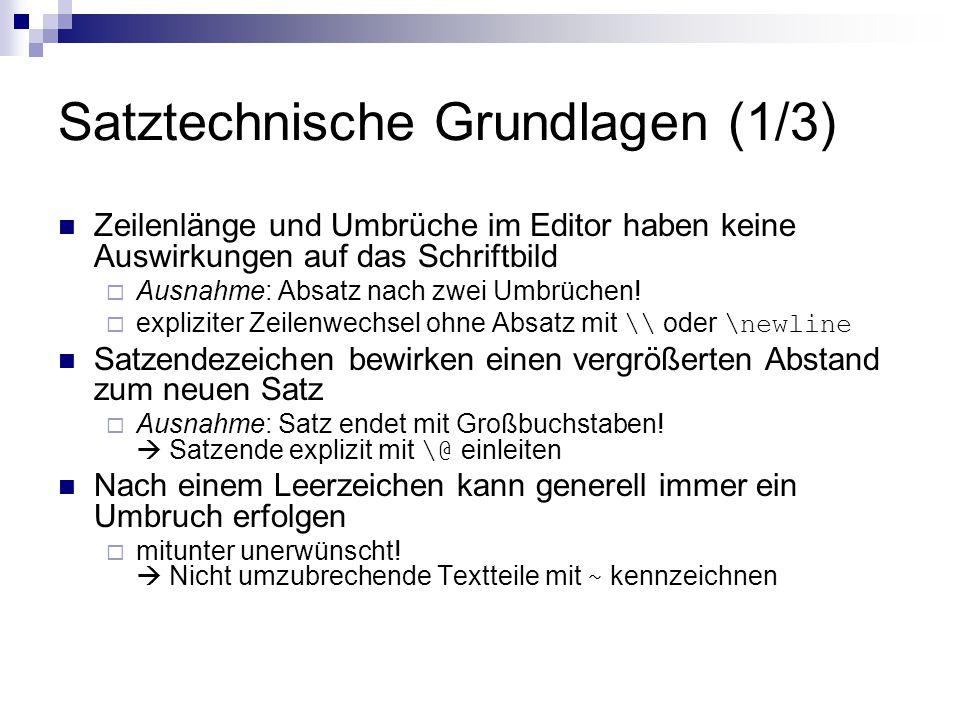 Satztechnische Grundlagen (1/3)