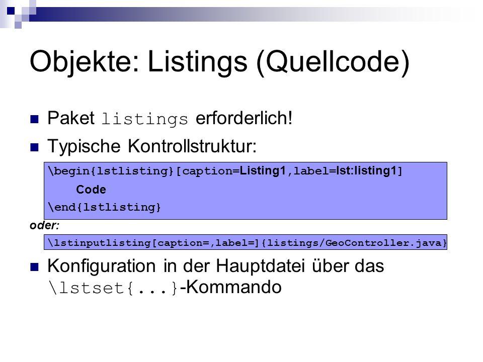 Objekte: Listings (Quellcode)