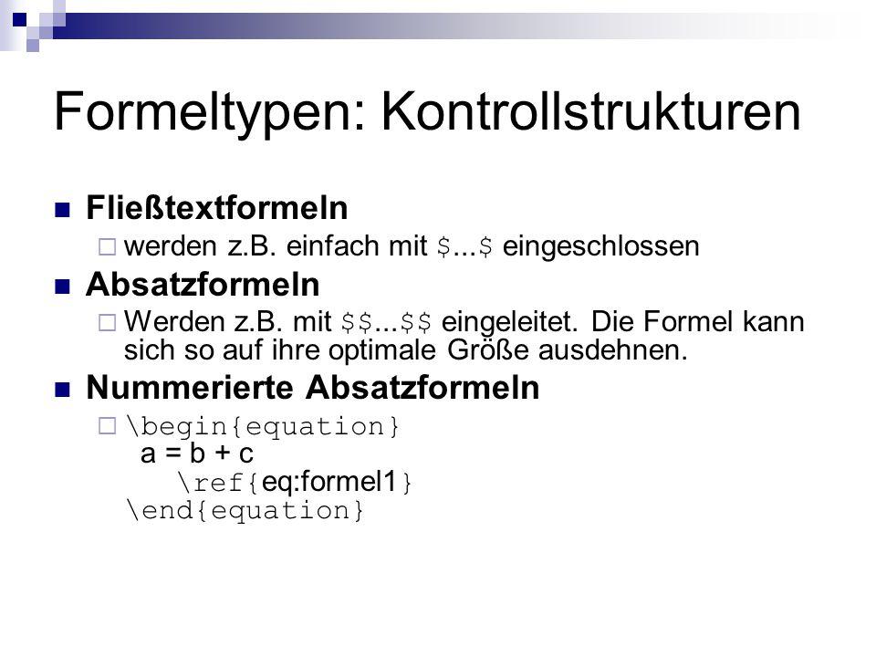 Formeltypen: Kontrollstrukturen