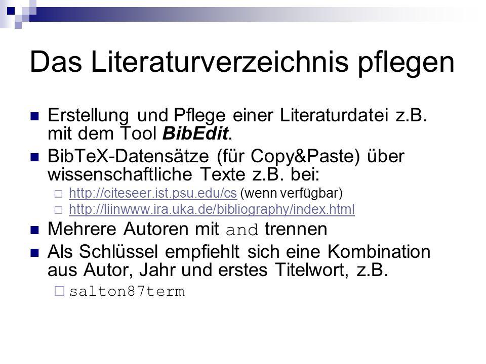 Das Literaturverzeichnis pflegen