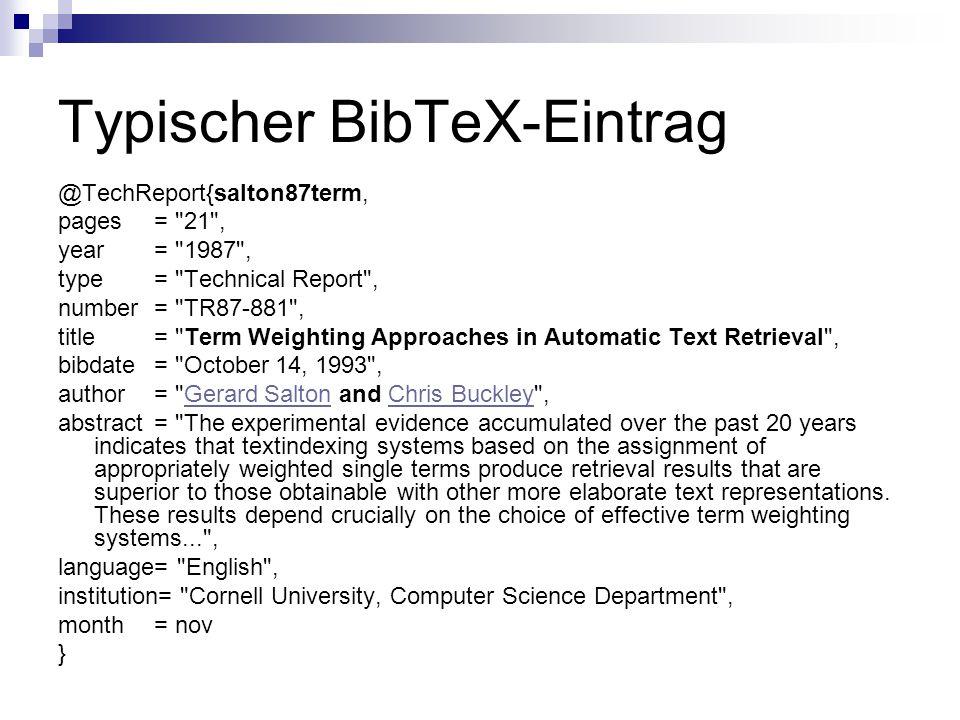 Typischer BibTeX-Eintrag