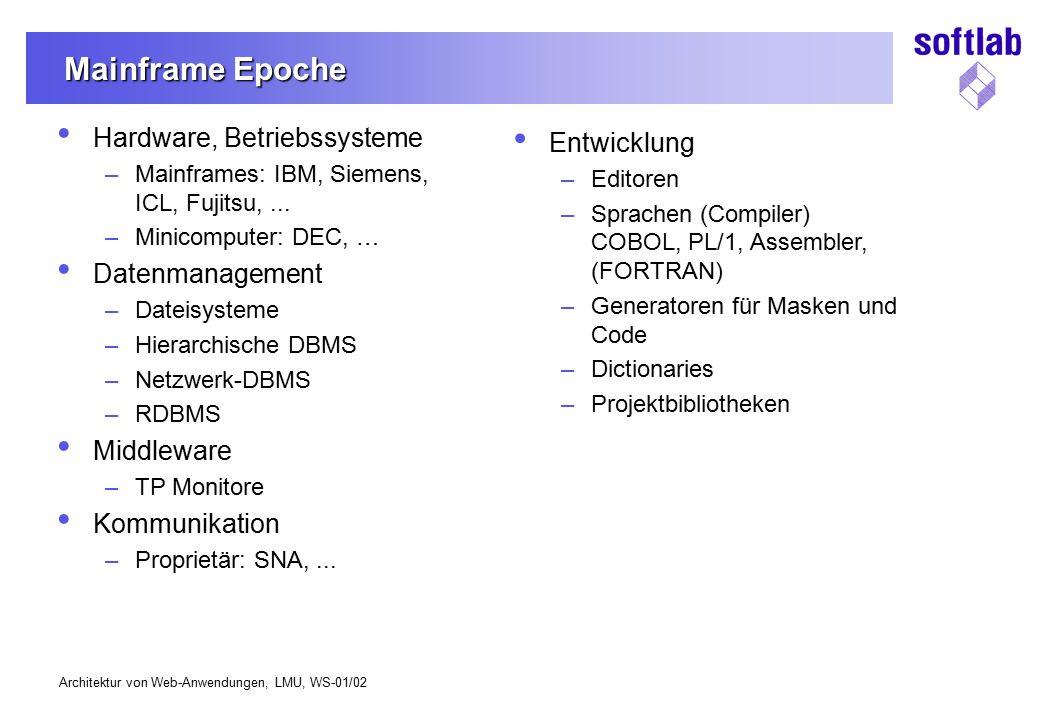 Mainframe Epoche Hardware, Betriebssysteme Entwicklung Datenmanagement