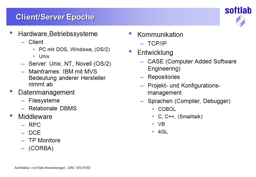 Client/Server Epoche Hardware,Betriebssysteme Datenmanagement
