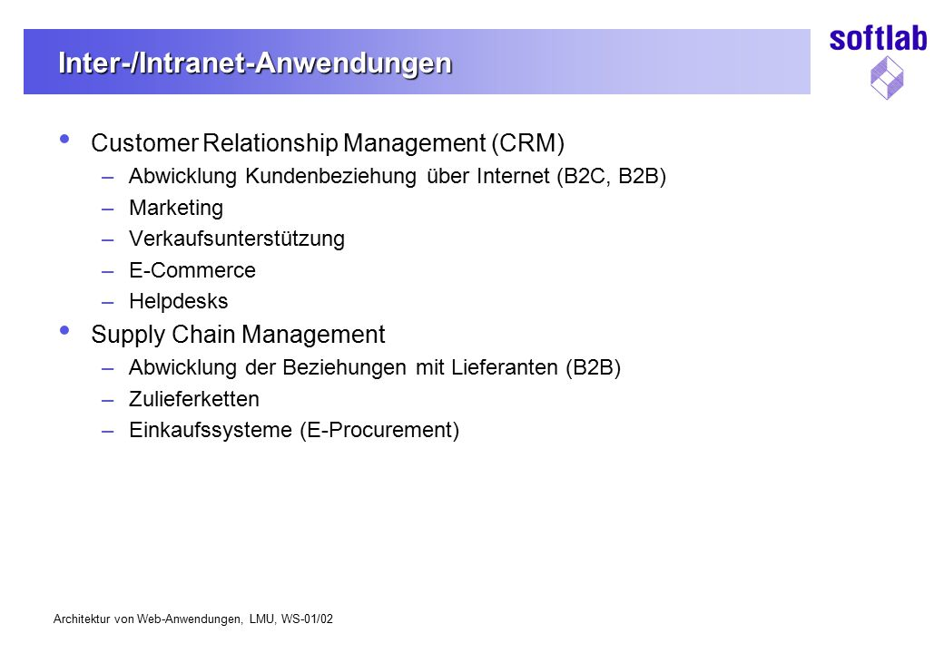 Inter-/Intranet-Anwendungen