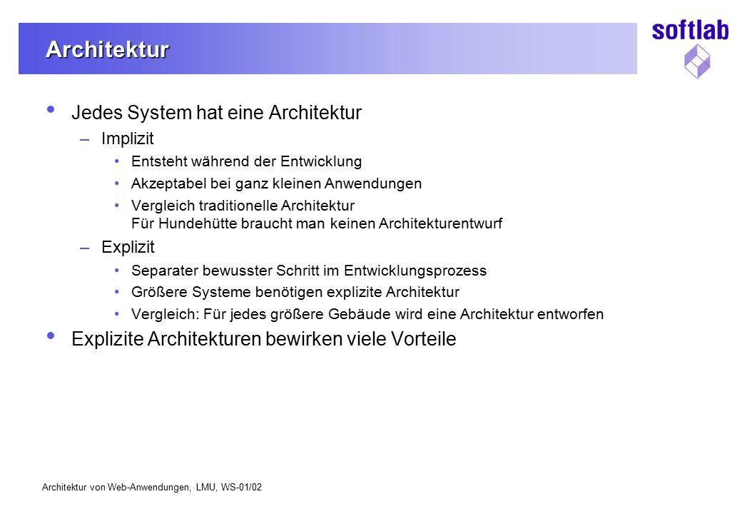 Architektur Jedes System hat eine Architektur