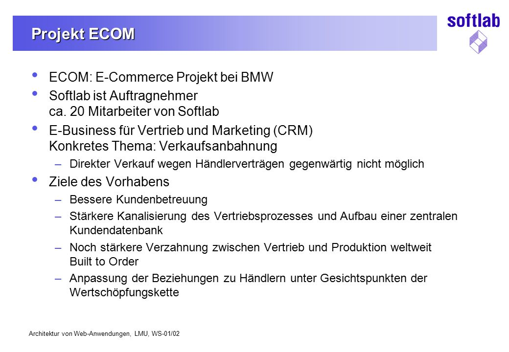 Projekt ECOM ECOM: E-Commerce Projekt bei BMW