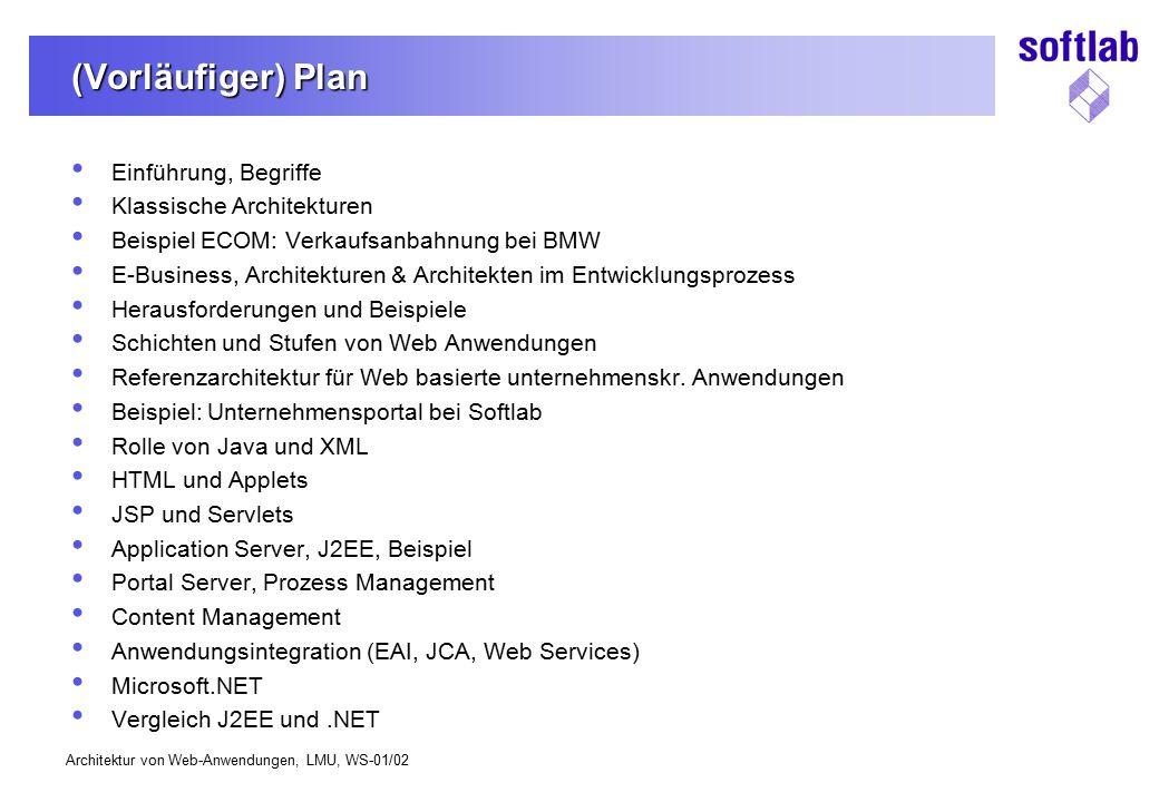 (Vorläufiger) Plan Einführung, Begriffe Klassische Architekturen