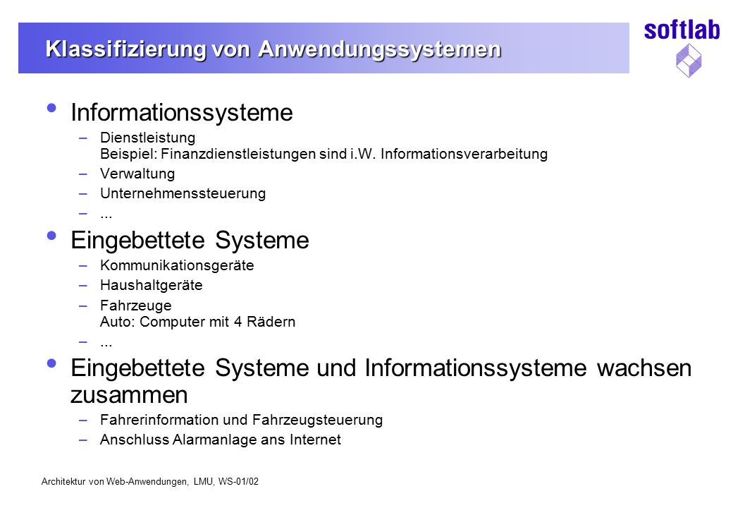 Klassifizierung von Anwendungssystemen
