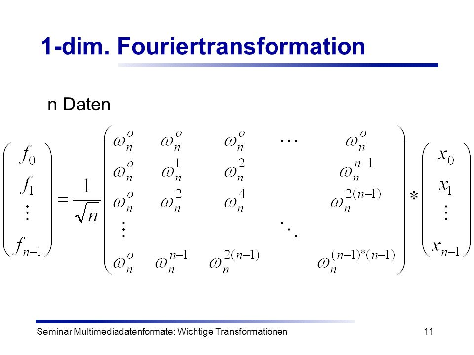 1-dim. Fouriertransformation