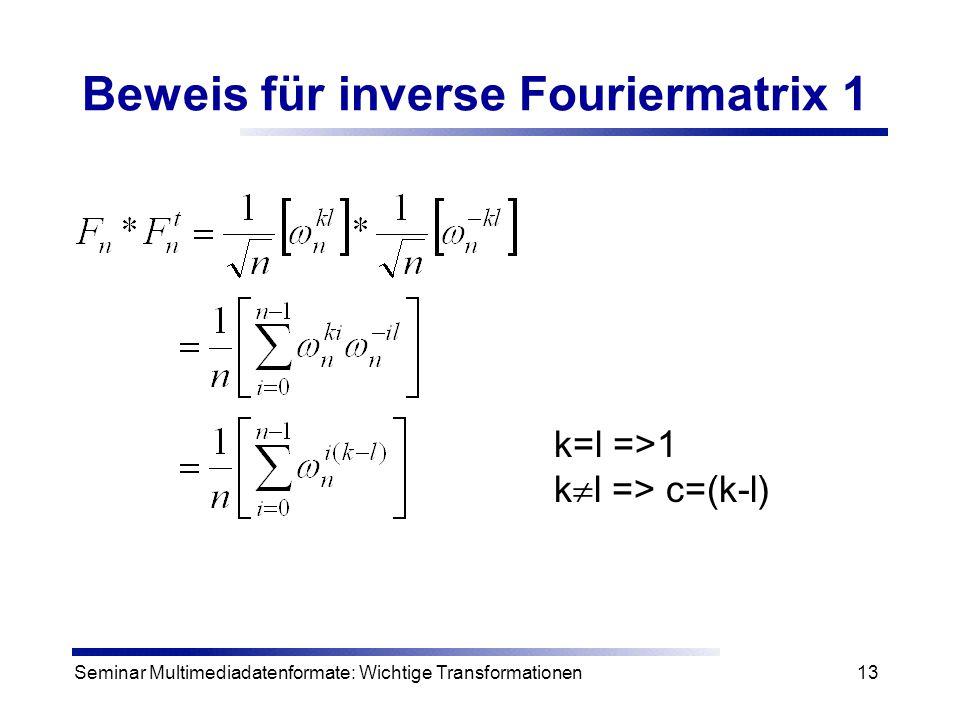 Beweis für inverse Fouriermatrix 1