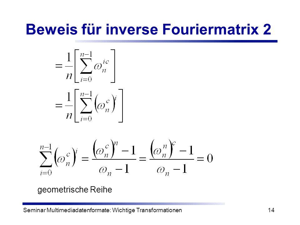 Beweis für inverse Fouriermatrix 2
