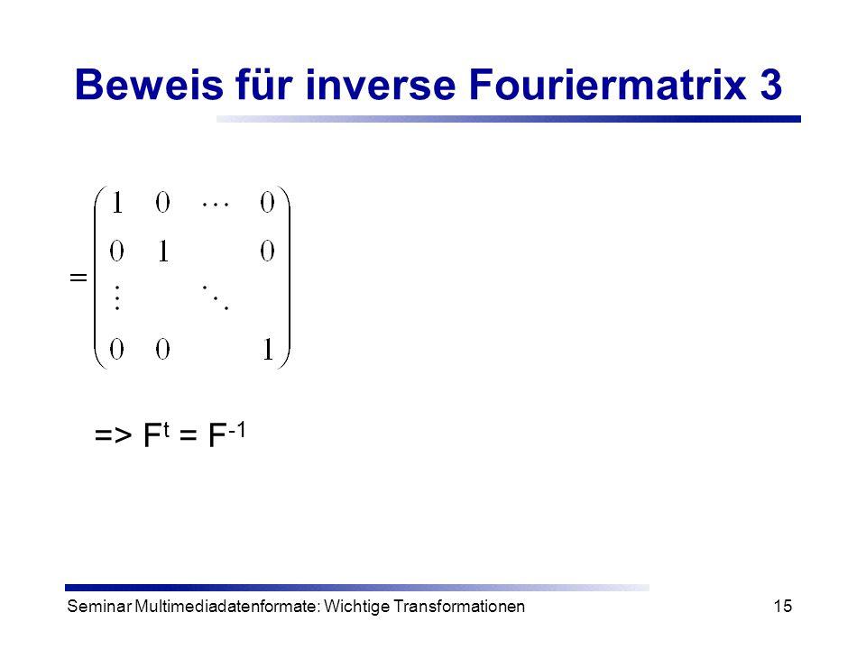 Beweis für inverse Fouriermatrix 3