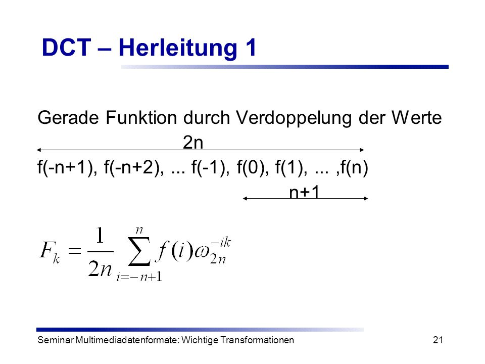 DCT – Herleitung 1 Gerade Funktion durch Verdoppelung der Werte 2n