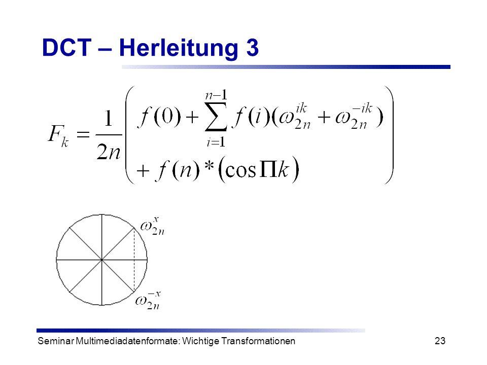 DCT – Herleitung 3 Seminar Multimediadatenformate: Wichtige Transformationen
