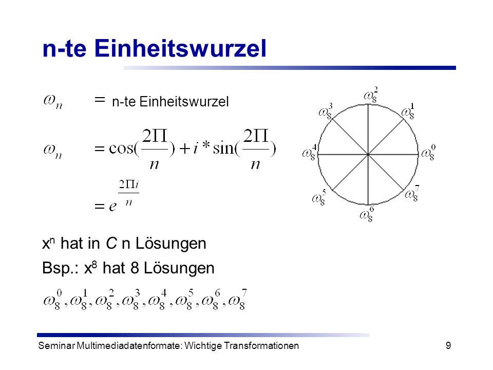 n-te Einheitswurzel xn hat in C n Lösungen Bsp.: x8 hat 8 Lösungen