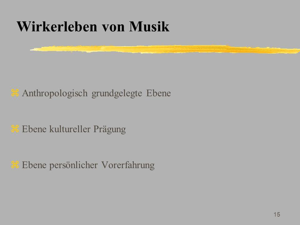Wirkerleben von Musik Anthropologisch grundgelegte Ebene
