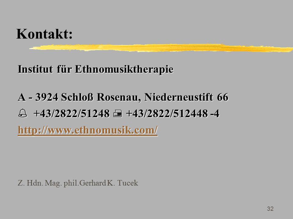 Kontakt: Institut für Ethnomusiktherapie