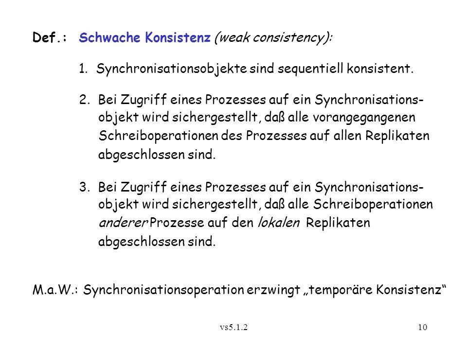 Def.: Schwache Konsistenz (weak consistency):