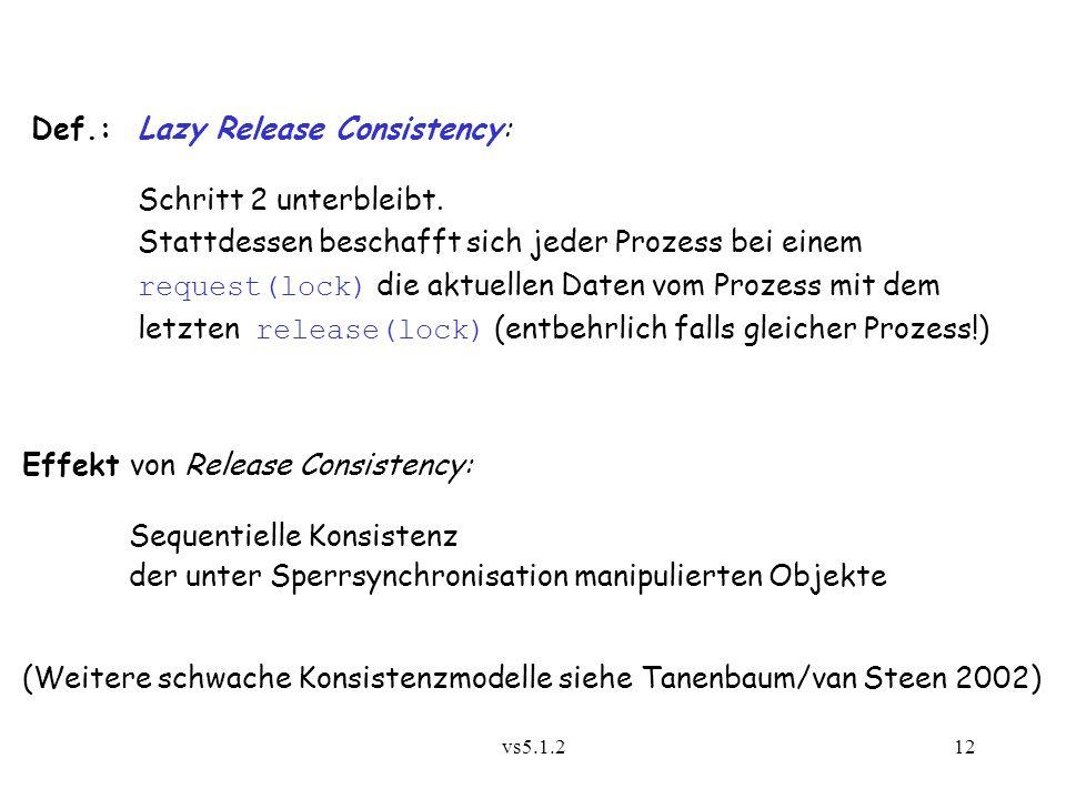 Def.: Lazy Release Consistency: Schritt 2 unterbleibt.