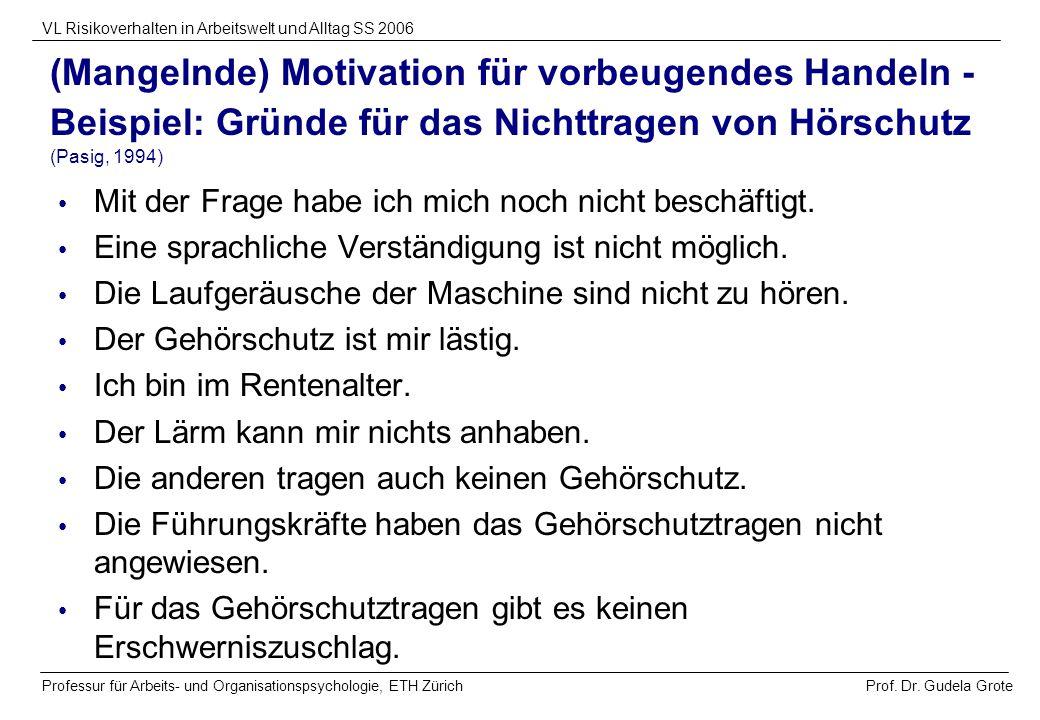 (Mangelnde) Motivation für vorbeugendes Handeln - Beispiel: Gründe für das Nichttragen von Hörschutz (Pasig, 1994)