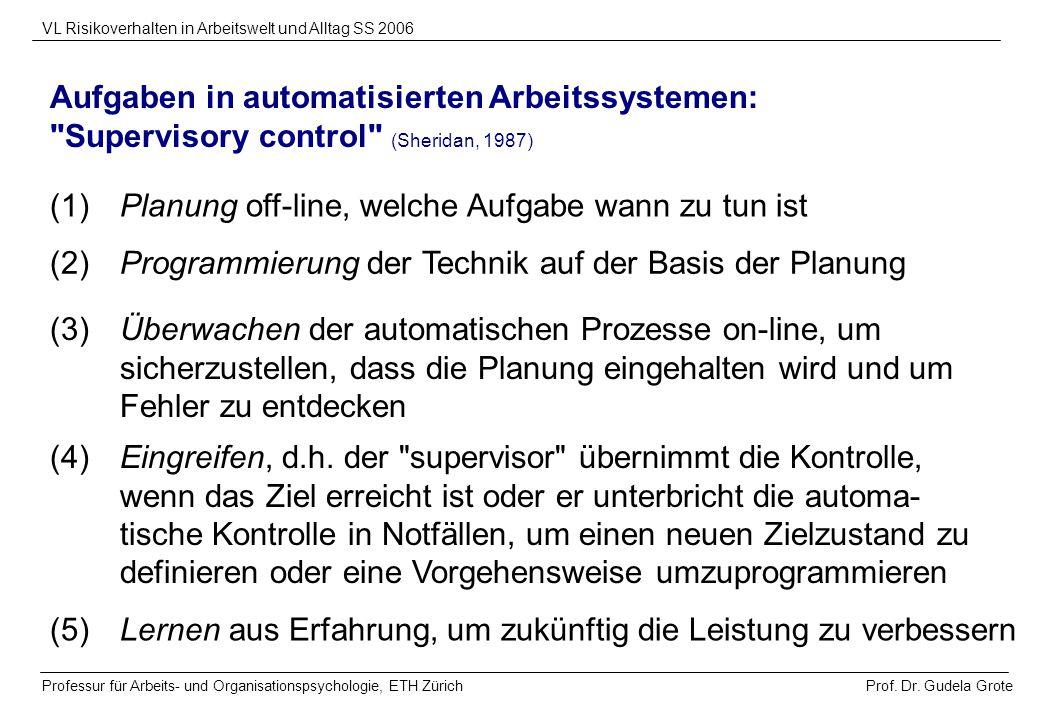 Aufgaben in automatisierten Arbeitssystemen:
