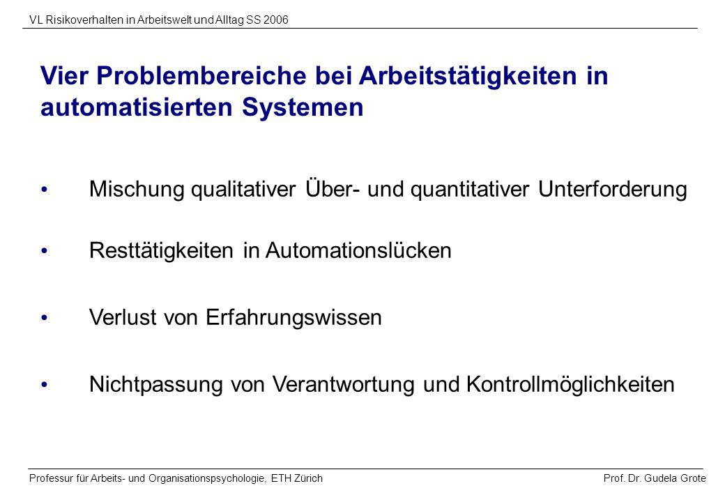 Vier Problembereiche bei Arbeitstätigkeiten in automatisierten Systemen