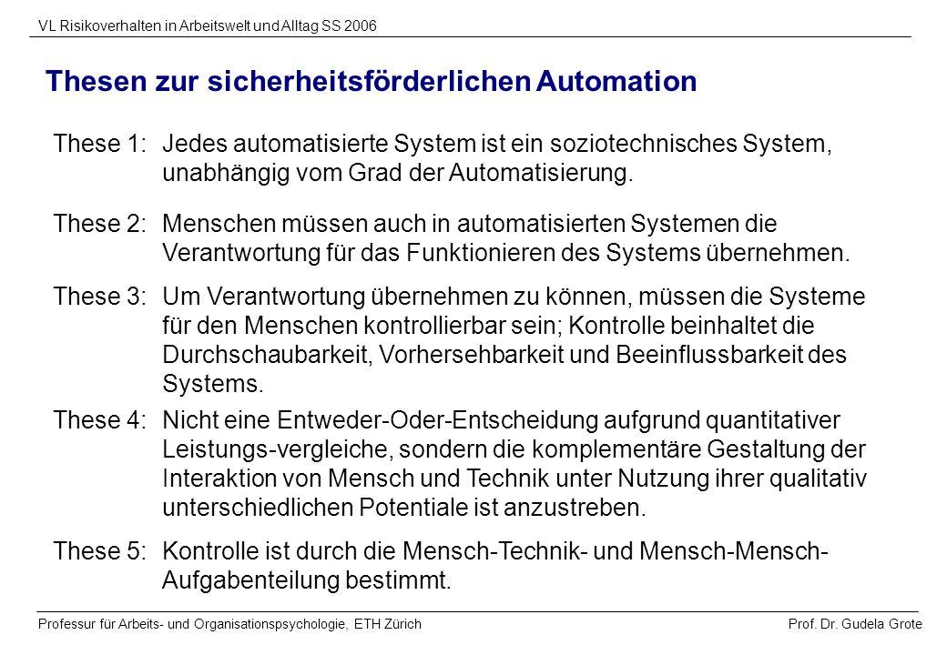 Thesen zur sicherheitsförderlichen Automation