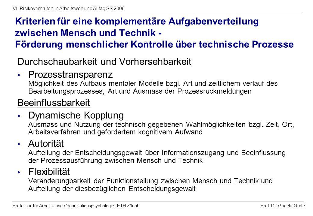 Kriterien für eine komplementäre Aufgabenverteilung zwischen Mensch und Technik - Förderung menschlicher Kontrolle über technische Prozesse