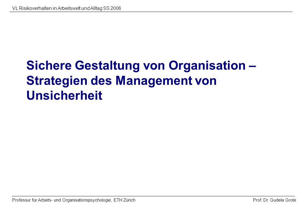 Sichere Gestaltung von Organisation – Strategien des Management von Unsicherheit