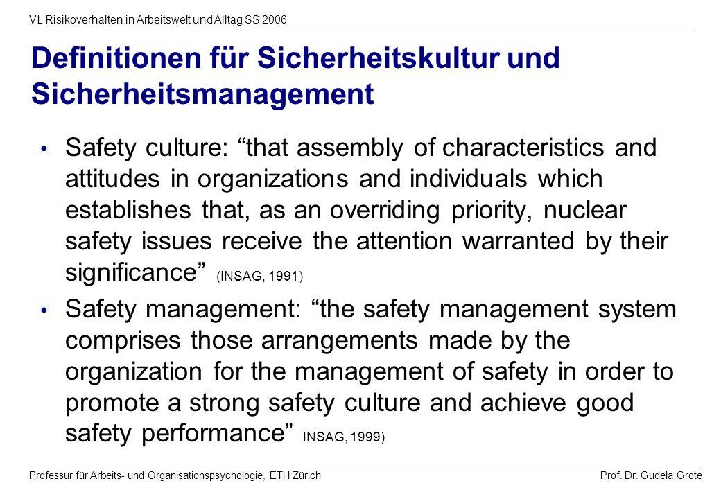 Definitionen für Sicherheitskultur und Sicherheitsmanagement