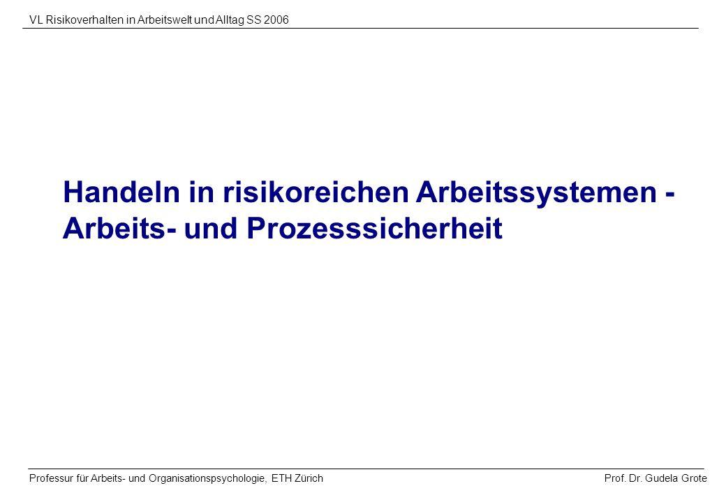 Handeln in risikoreichen Arbeitssystemen - Arbeits- und Prozesssicherheit