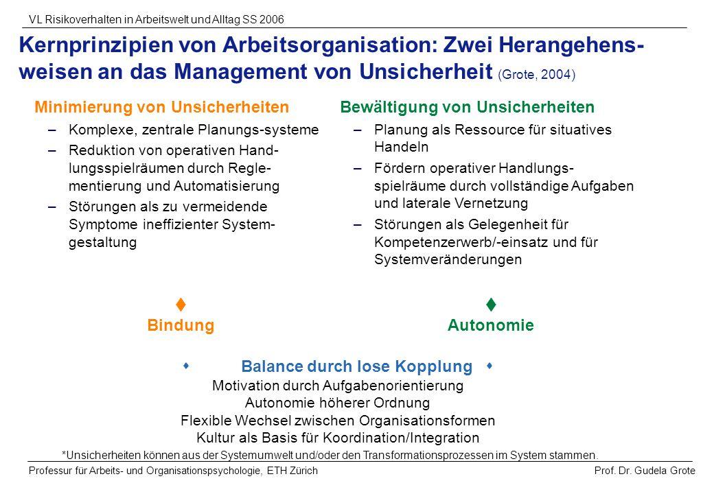 Kernprinzipien von Arbeitsorganisation: Zwei Herangehens-weisen an das Management von Unsicherheit (Grote, 2004)