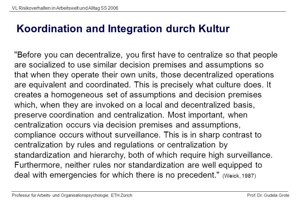 Koordination and Integration durch Kultur