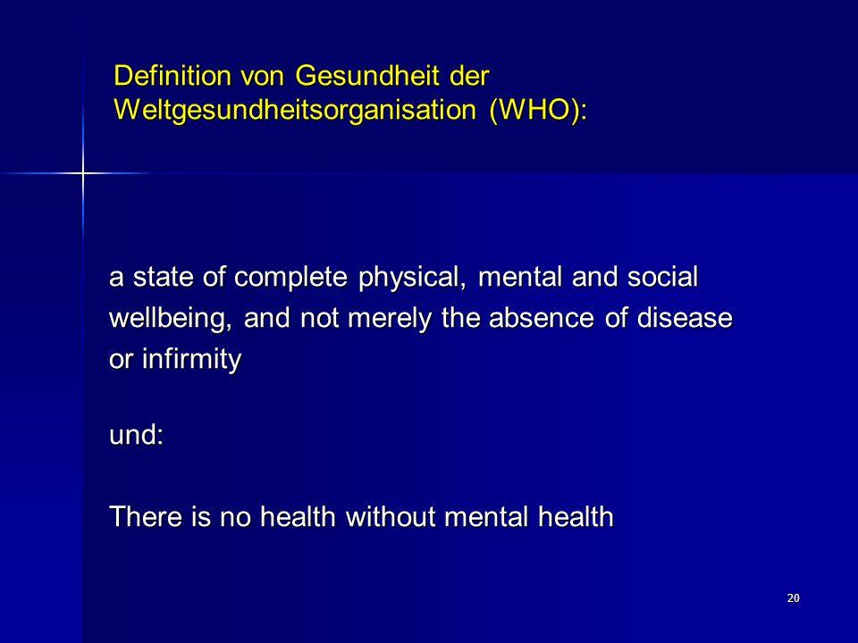 Definition von Gesundheit der Weltgesundheitsorganisation (WHO):