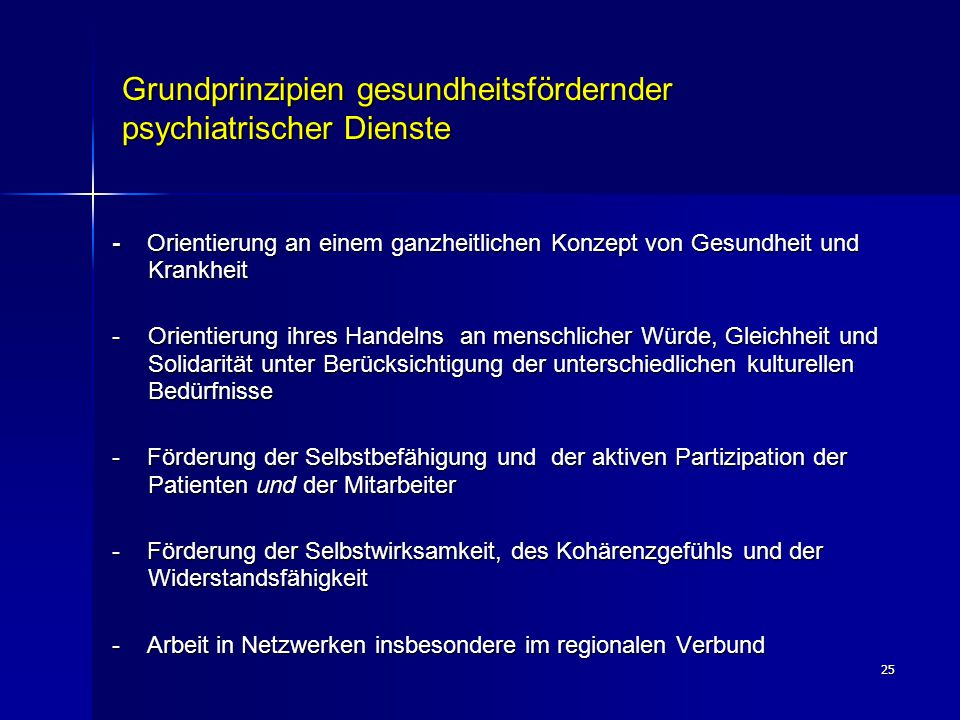 Grundprinzipien gesundheitsfördernder psychiatrischer Dienste