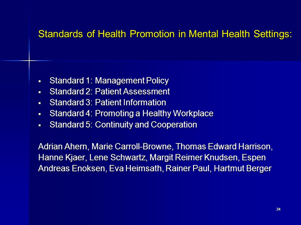 Standards of Health Promotion in Mental Health Settings: