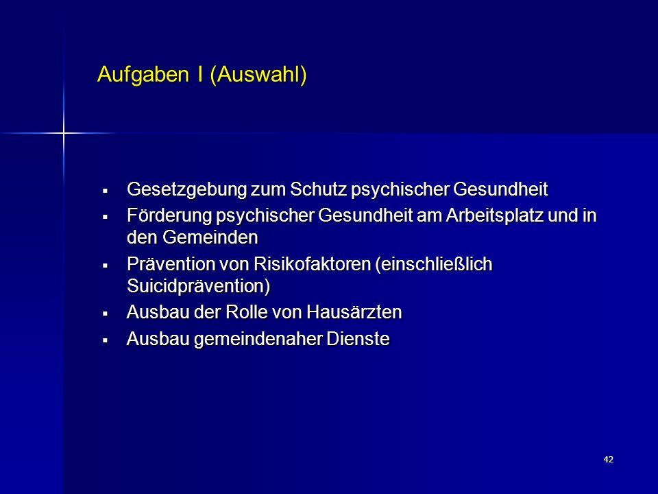 Aufgaben I (Auswahl) Gesetzgebung zum Schutz psychischer Gesundheit