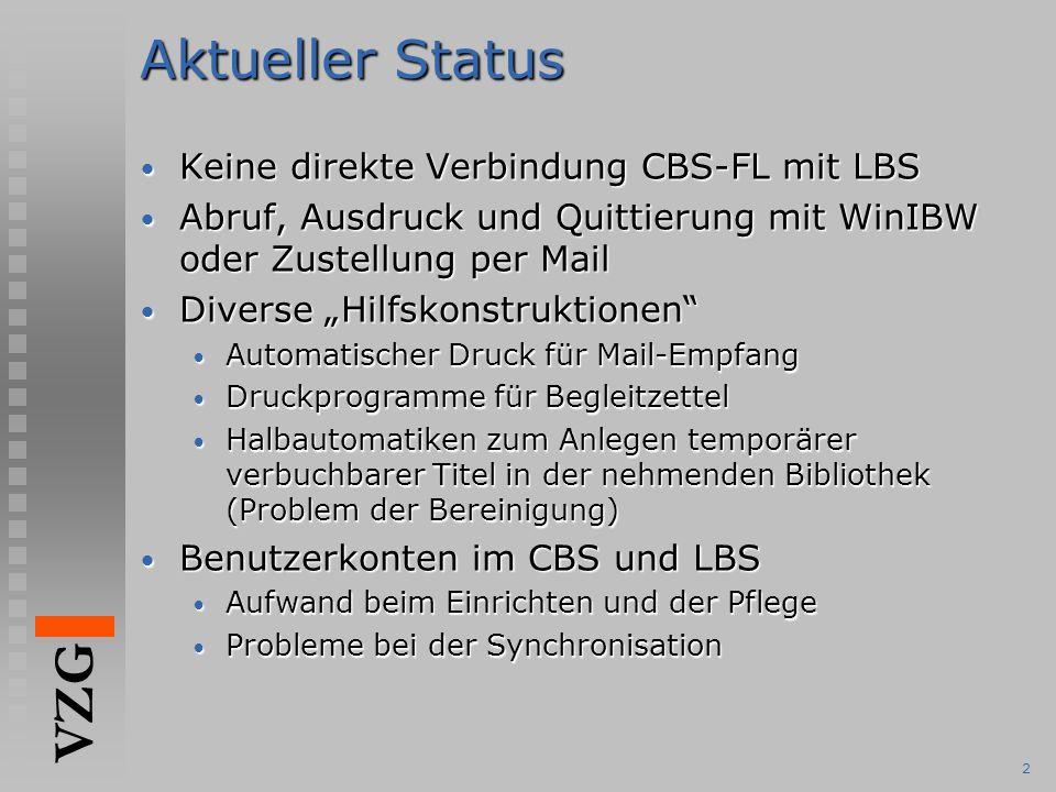 Aktueller Status Keine direkte Verbindung CBS-FL mit LBS