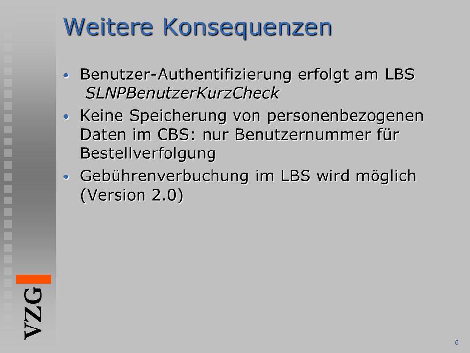 Weitere Konsequenzen Benutzer-Authentifizierung erfolgt am LBS SLNPBenutzerKurzCheck.