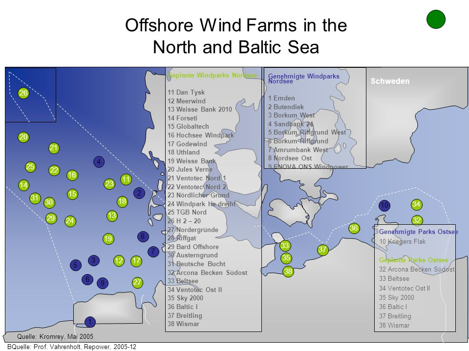 Offshore Wind Farms in the North and Baltic Sea